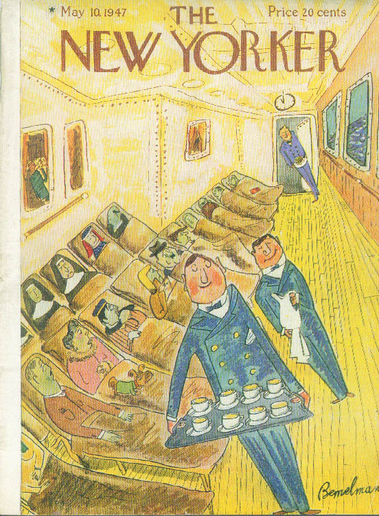 New Yorker cover Bemelmans ocean liner waiters take tea to the seasick 5/10 1947