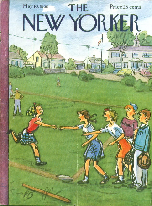 New Yorker cover Barlow girls beat boys in baseball game 5/10 1958