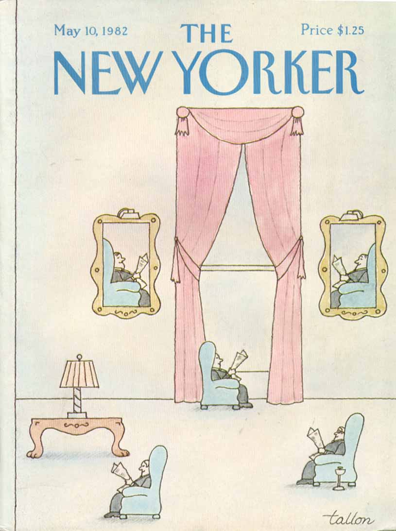 New Yorker cover Tallon clubmen reading news 5/10 1982