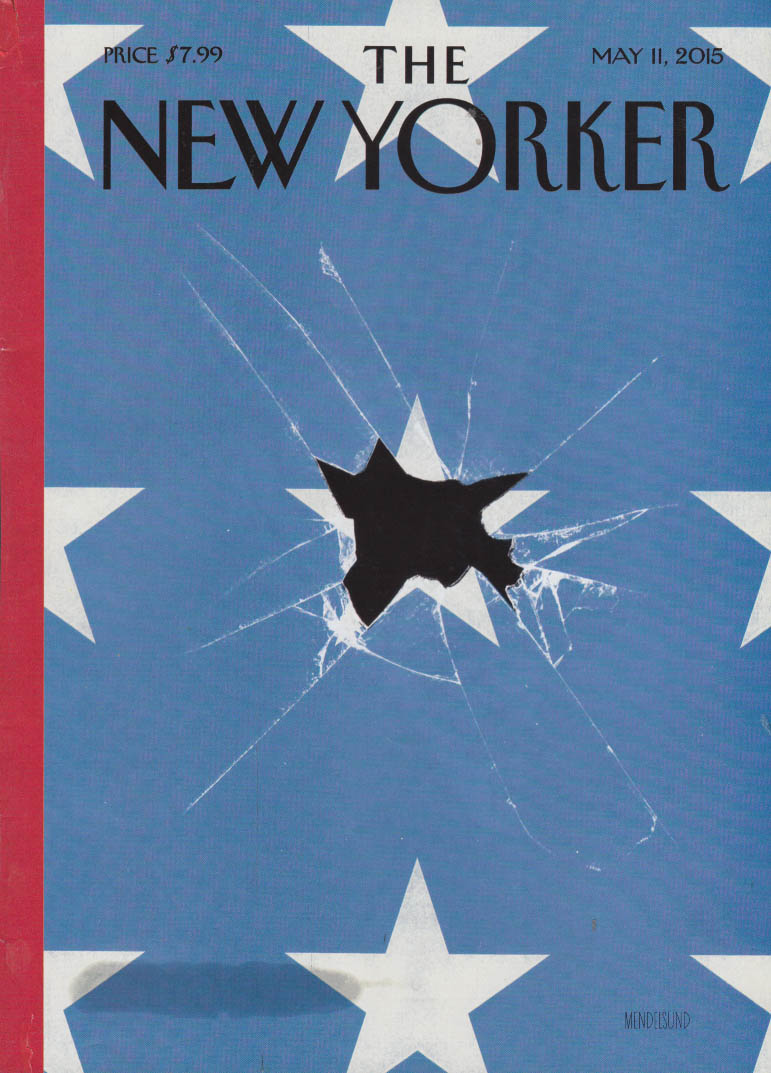 New Yorker cover 5/11 2015 Mendelsund: Stars & Stripes shattered like glass