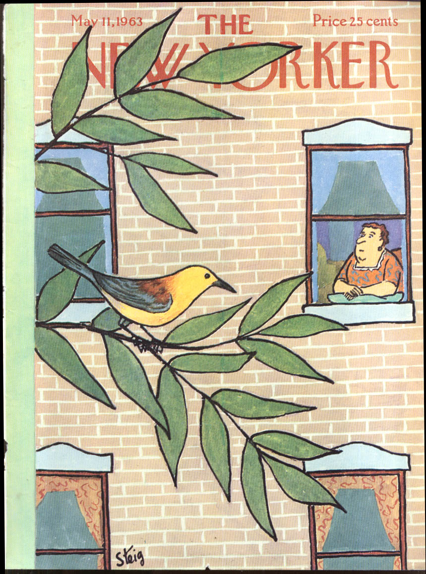 New Yorker cover Steig large woman eyes yellow bird in tree 5/11 1963