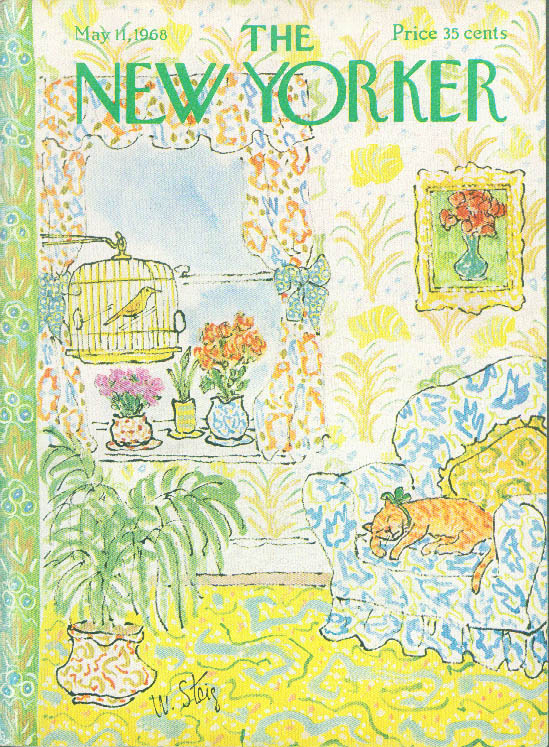 New Yorker cover Steig cat sleeps loud décor 5/11 1968