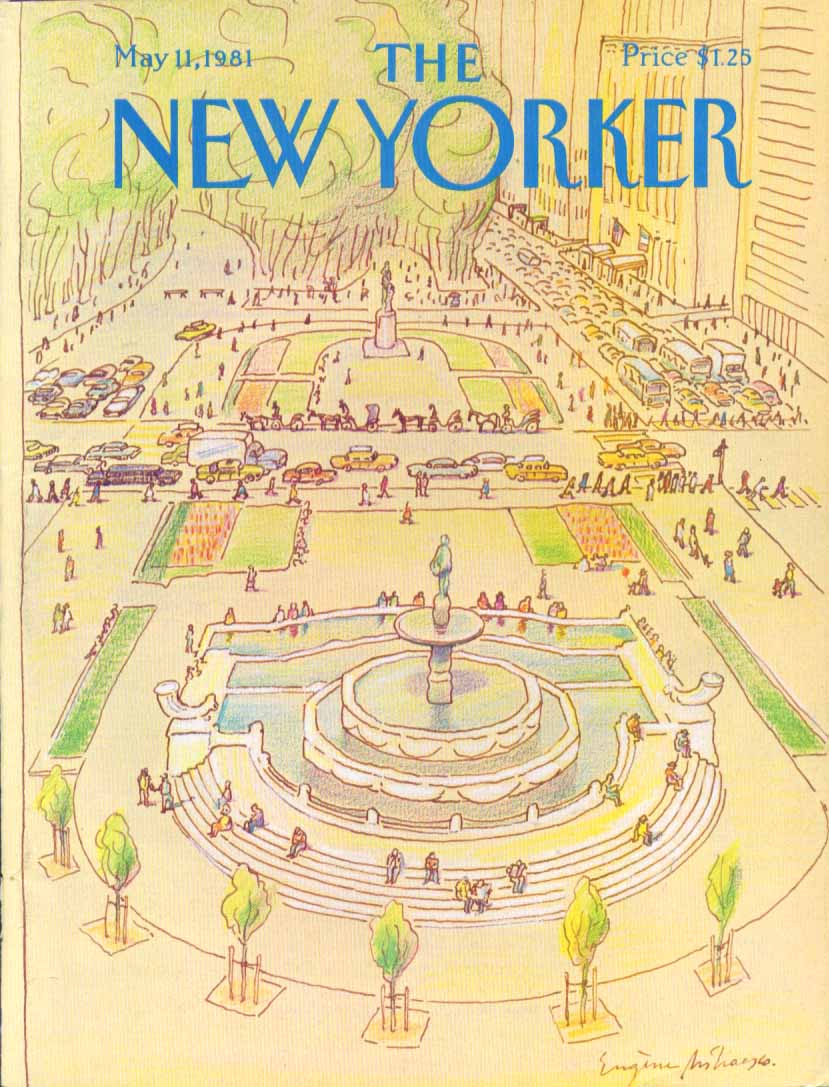 New Yorker cover Mihaesco park fountains 5/11 1981