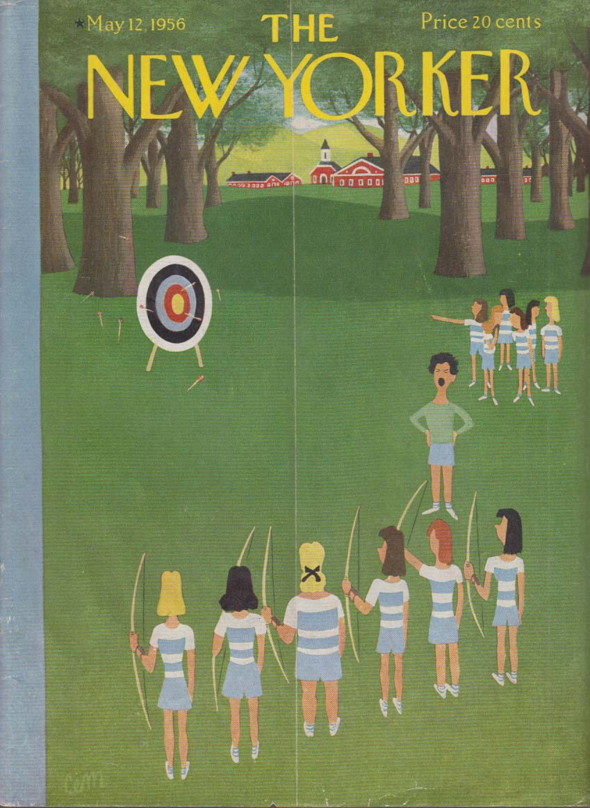 New Yorker cover CEM private girls school archery class 5/12 1956