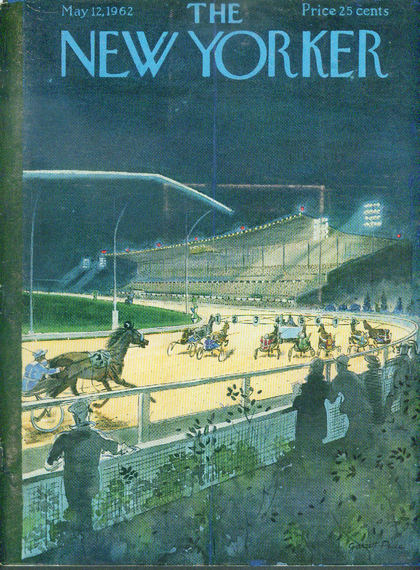 New Yorker cover Garrett Price Harness racing under the lights 5/12 1962