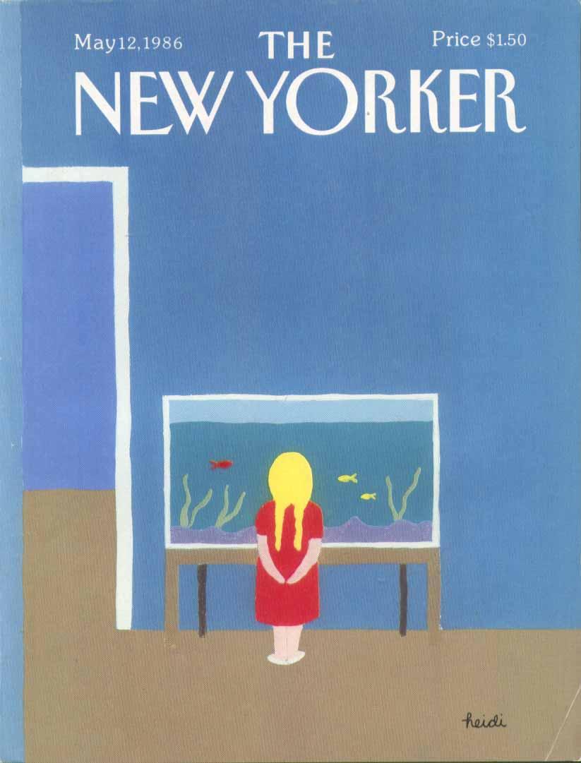 New Yorker cover Heidi blond pigtail aquarium 5/12 1986