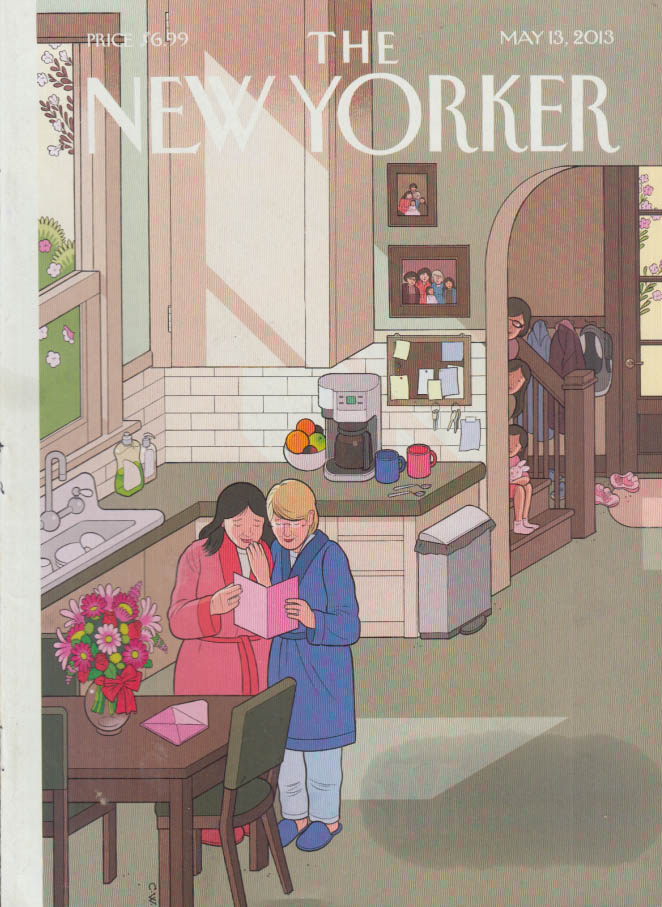 New Yorker cover 5/13 2013 C W: kids watch gay Mother's Day card being read