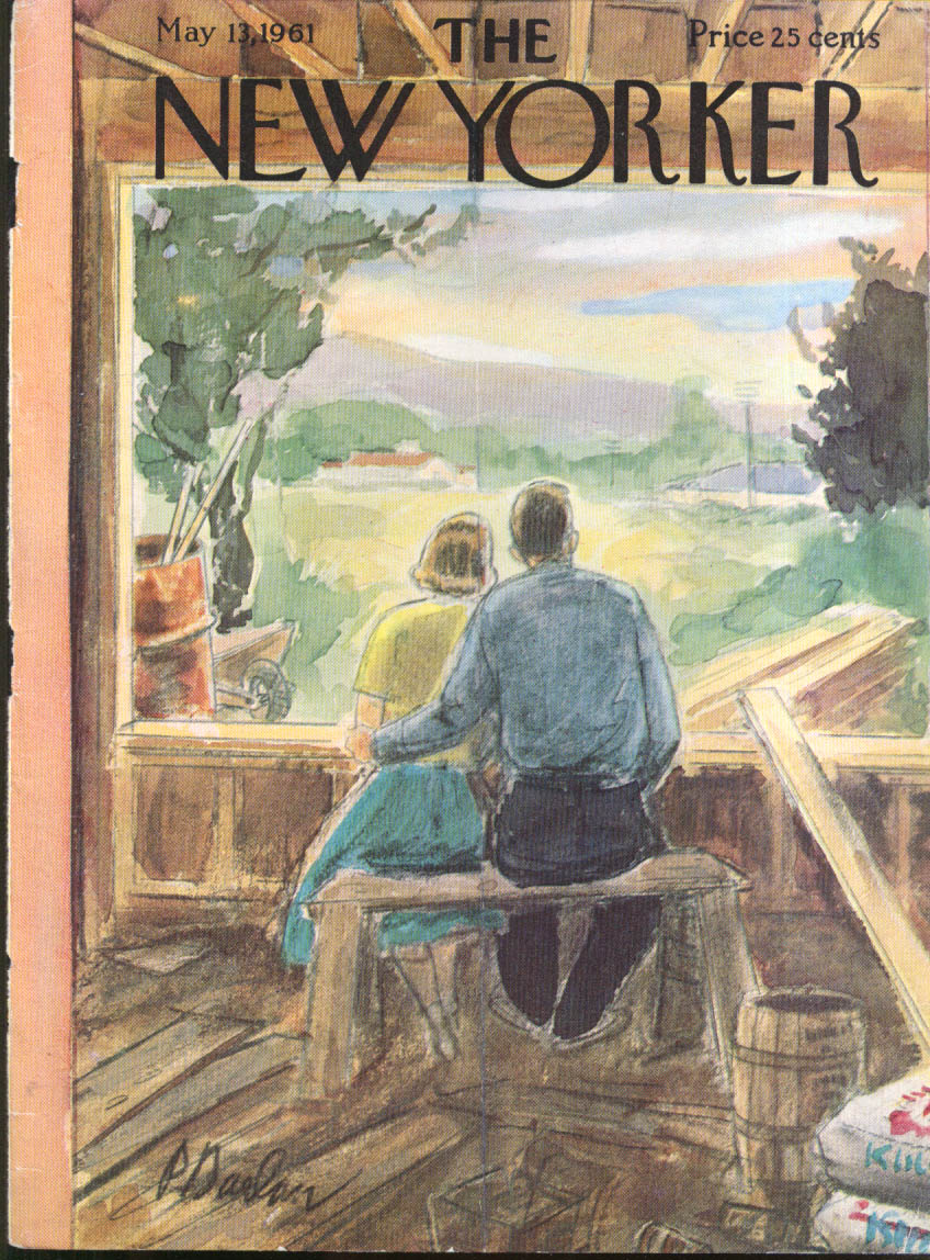 New Yorker cover Barlow couple sit in country house being built 5/13 1961