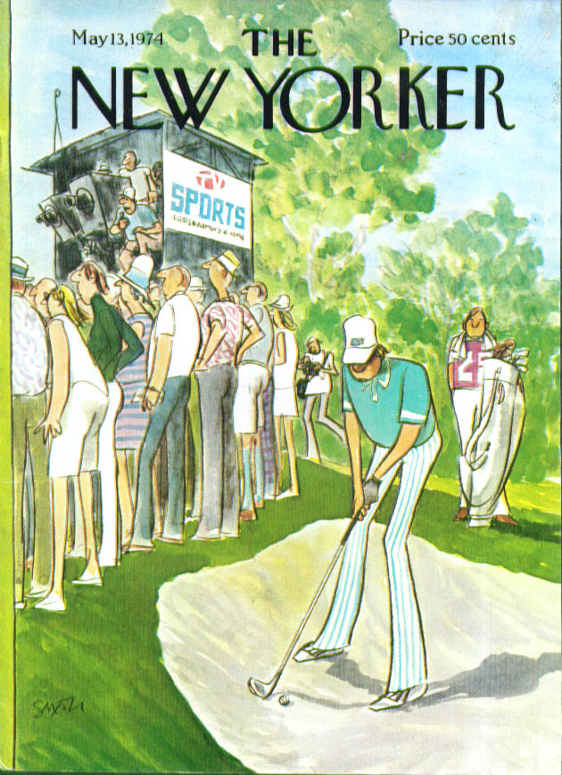 New Yorker cover Saxon TV ignores golf shot 5/13 1974