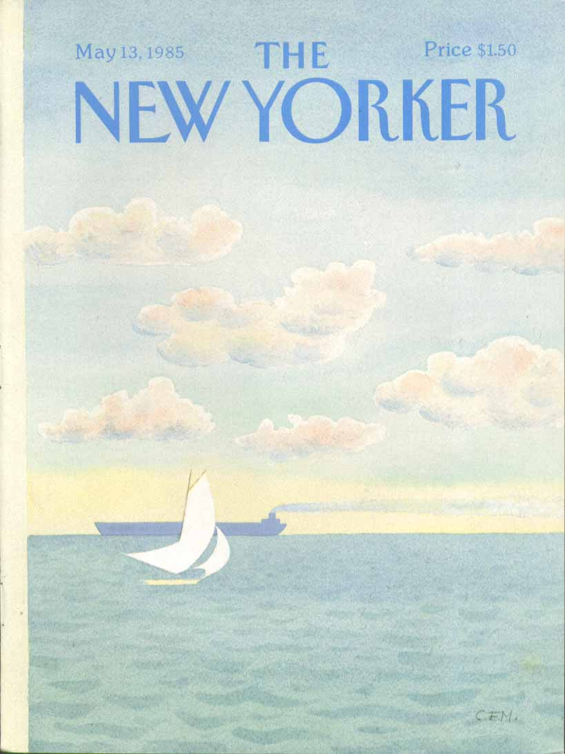 New Yorker cover Martin sailboat & oil tanker 5/13 1985