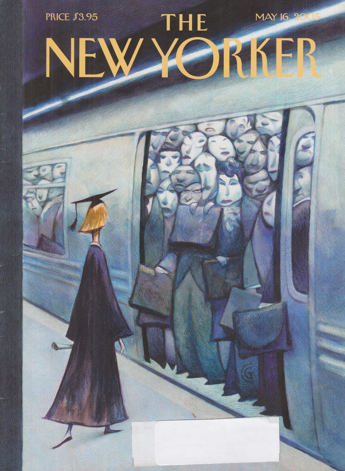 New Yorker cover CG college grad considers overstuffed subway car 5/16 2005