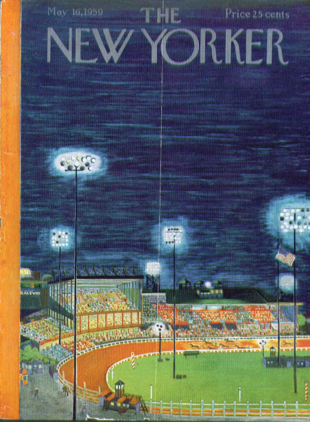 New Yorker cover Karasz Harness racing under the lights 5/16 1959