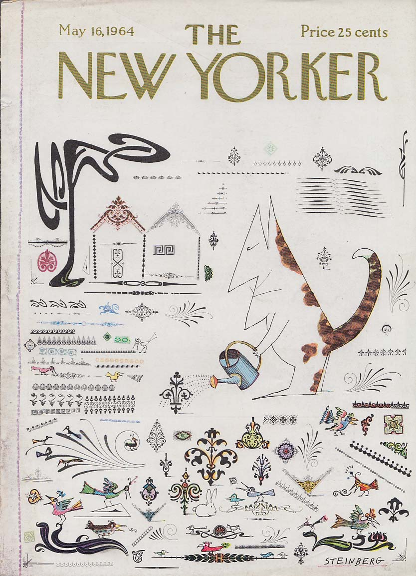 Image for New Yorker cover Steinberg Cat watering garden with birds & rabbit 5/16 1964