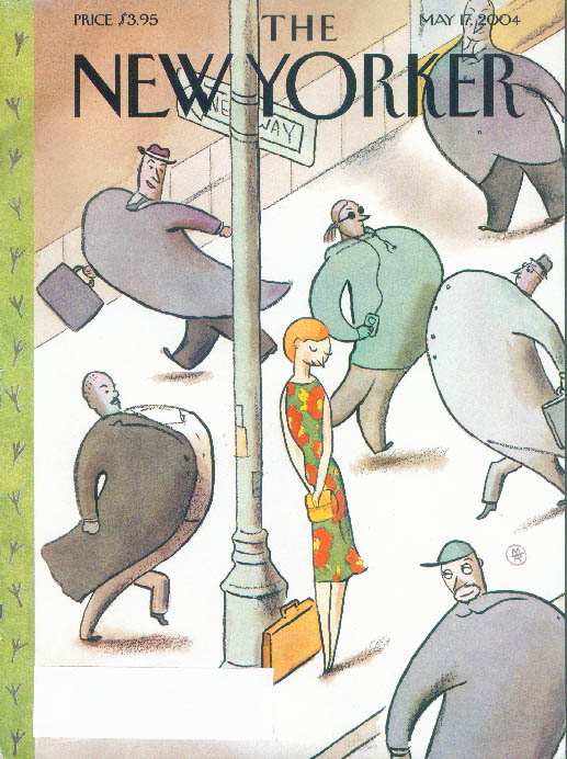 New Yorker cover Bird fat men throw out chests for pretty redhead 5/17 2004