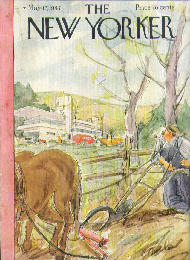 New Yorker cover Barlow farmer mod house 5/17 1947