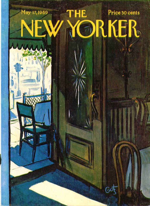 Image for New Yorker cover Getz Caf with door open to sidewalk tables 5/17 1969