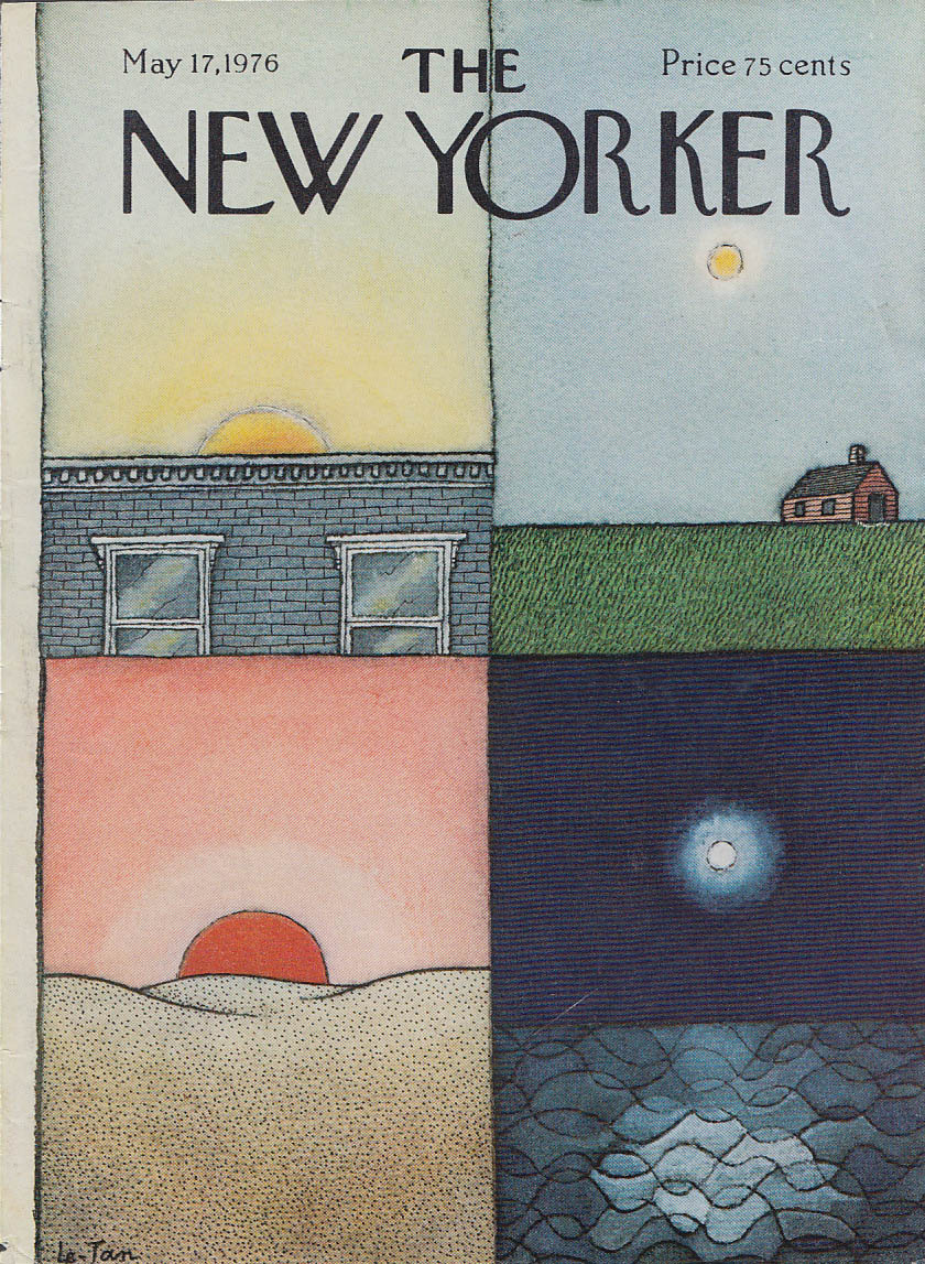 New Yorker cover Le-Tan 4 suns 4 landscapes city farm desert ocean 5/17 1976