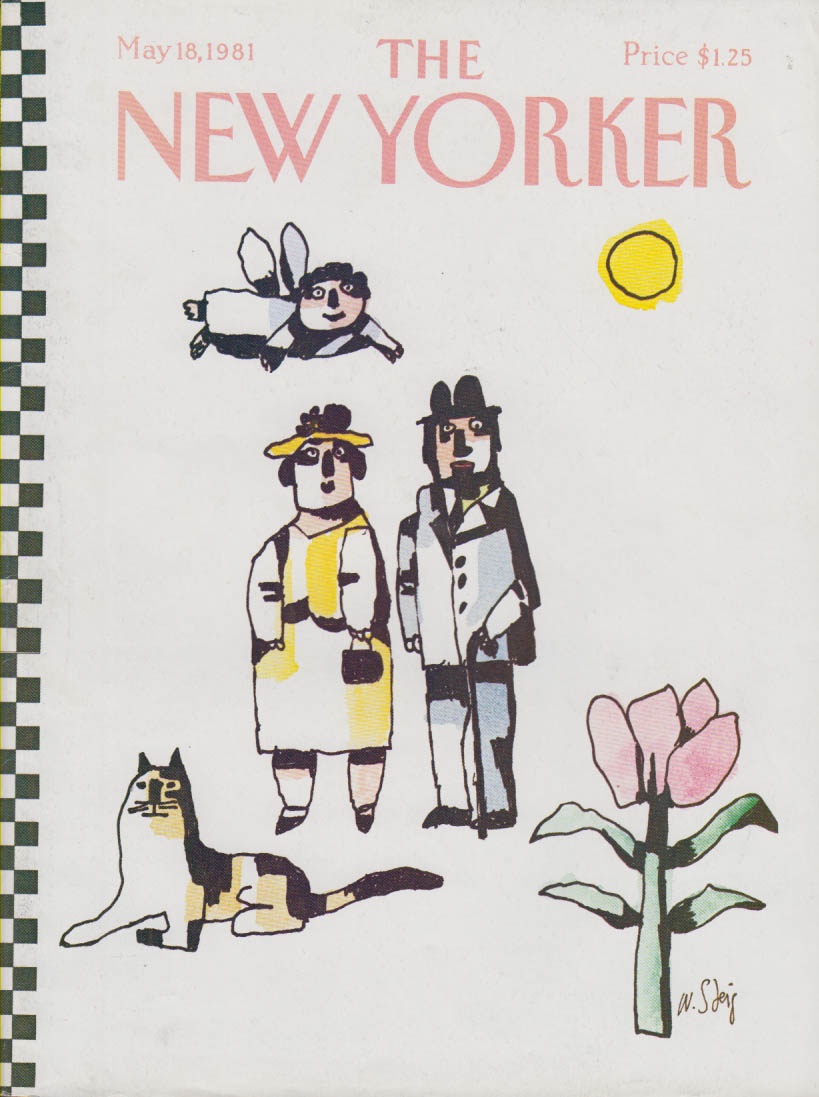 New Yorker cover Steig cat angel couple rose 5/18 1981