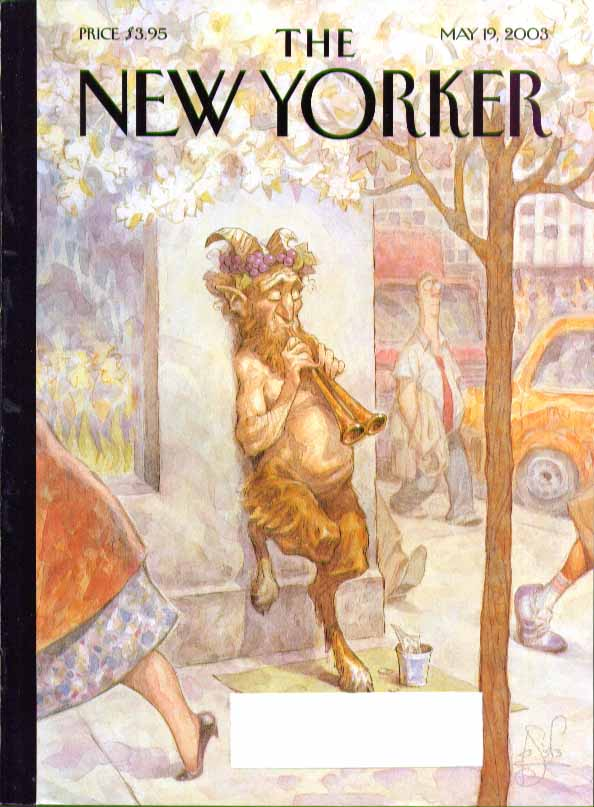 Image for New Yorker cover Peter de Seve Pan plays pipes for change on street 5/19 2003