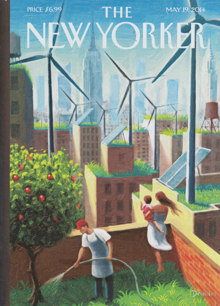 New Yorker cover 5/19 2014 Drooker: rooftop gardens & wind power skyline