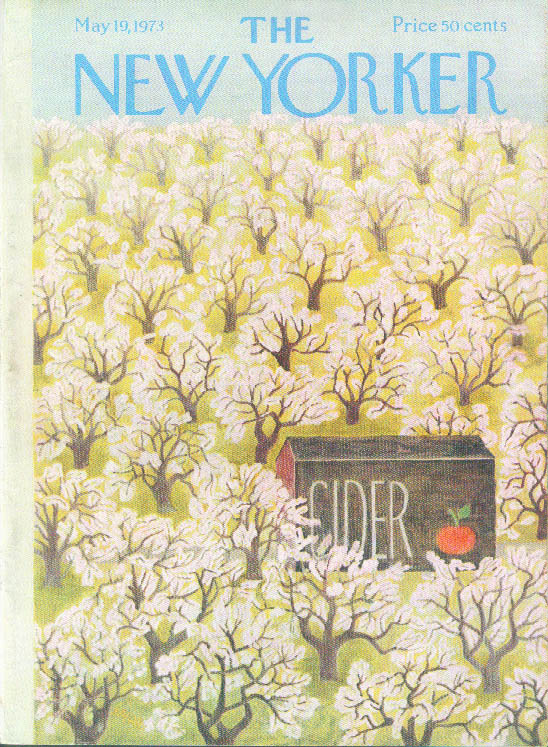 New Yorker cover Karasz Cider Barn amid apple orchard 5/19 1973