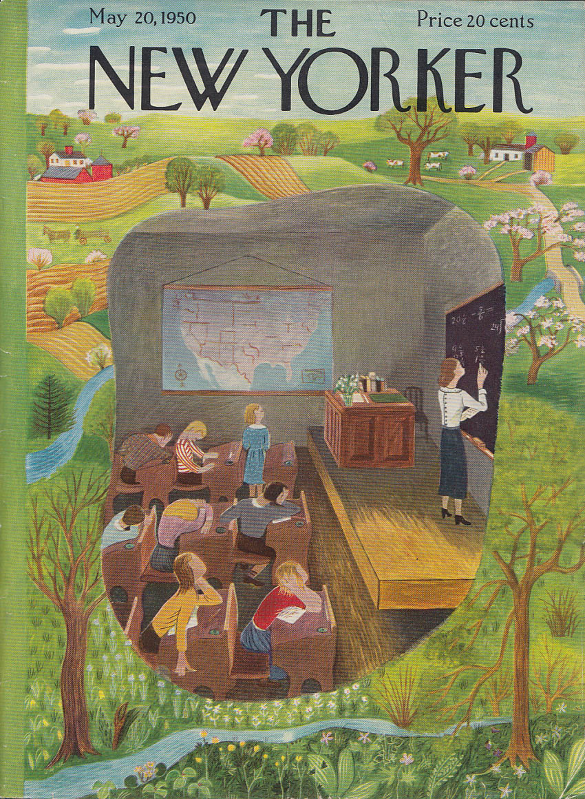 New Yorker cover Karasz bored classroom against Spring Fever 5/20 1950