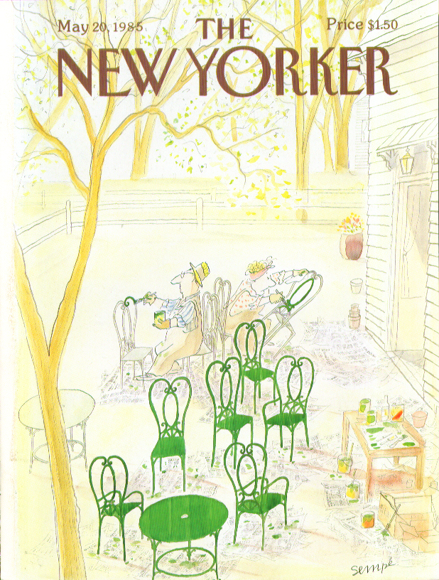 New Yorker cover Sempe painting lawn chairs 5/20 1985