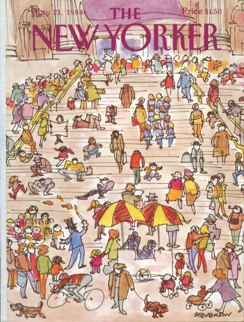 New Yorker cover Stevenson Met steps crowd 5/21 1984