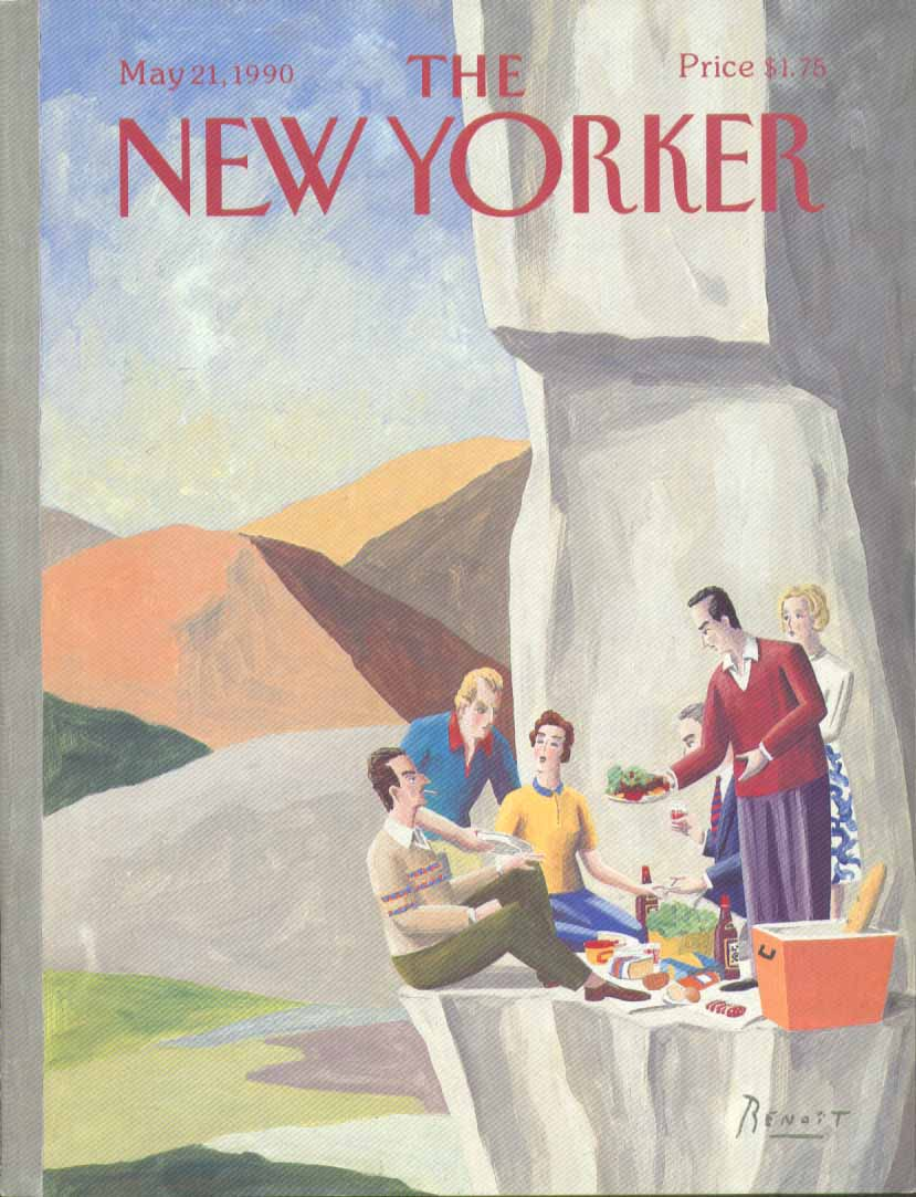 New Yorker cover Benoit cliff's edge picnic 5/21 1990