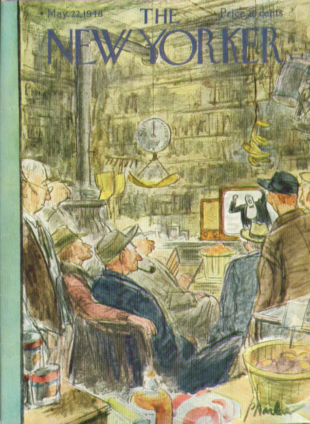Image for New Yorker cover Barlow general store men TV 5/22 1948