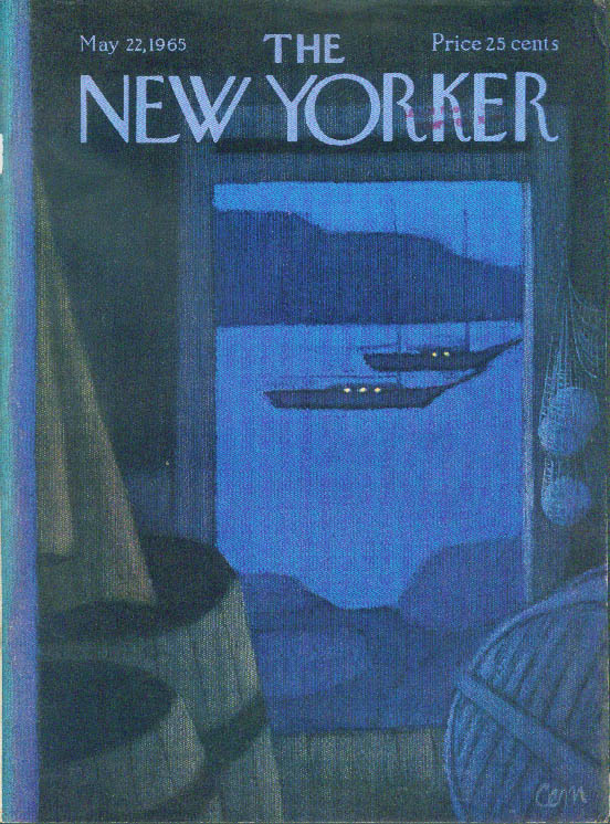 New Yorker cover CEM anchored sailboats lit up boathouse night view 5/22 1965