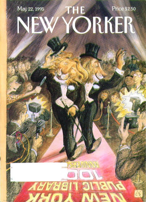 New Yorker cover Sorel NYPL lions red carpet 5/22 1995