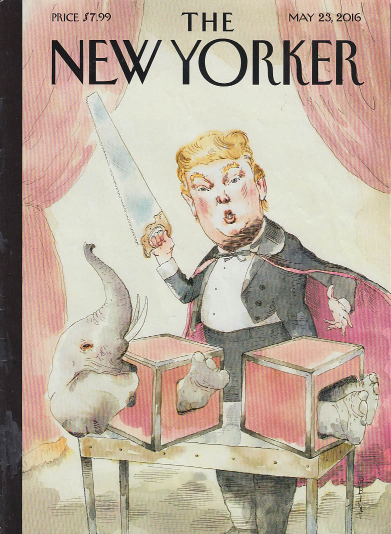 New Yorker cover Blitt 5/23 2016 Magician Trump saws GOP elephant in half