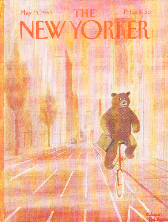 New Yorker cover Addams bear exec unicycle 5/23 1983