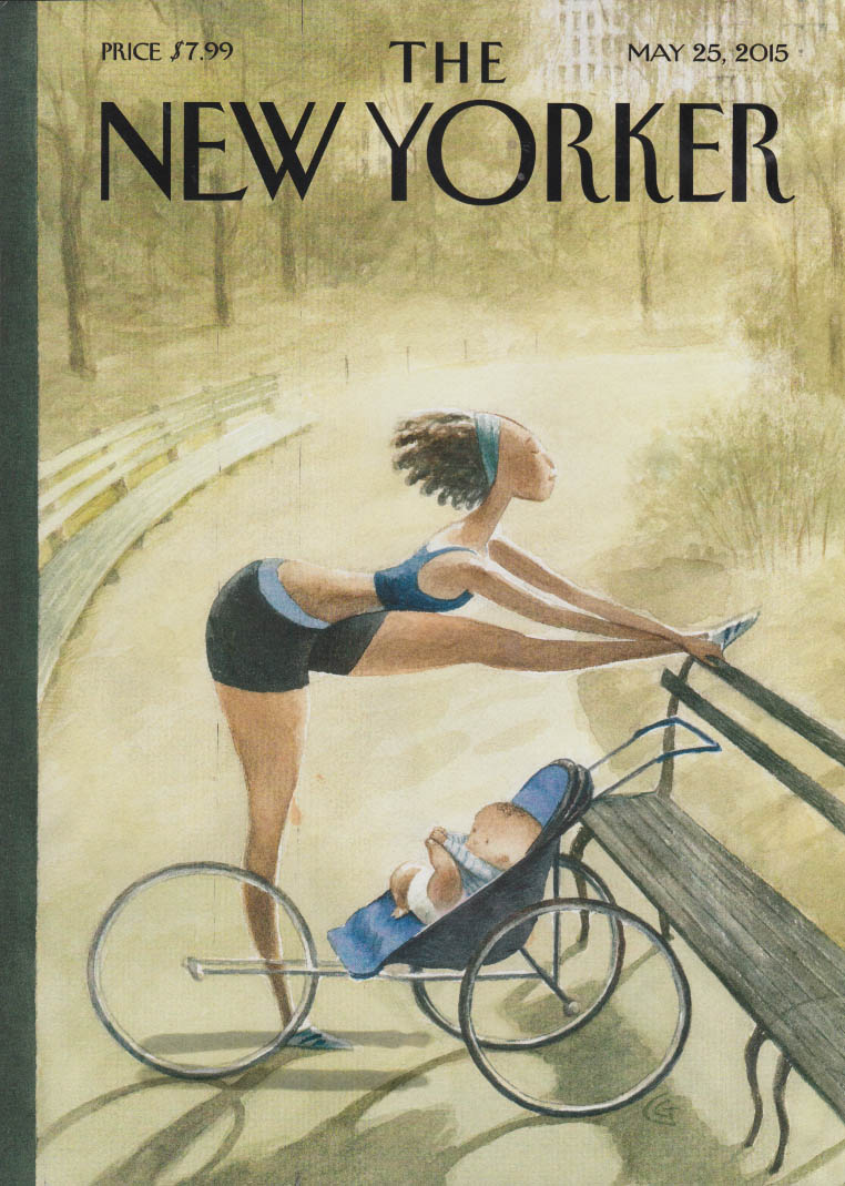 New Yorker cover 5/25 2015 Goodrich: mother stretches while baby waits in pram