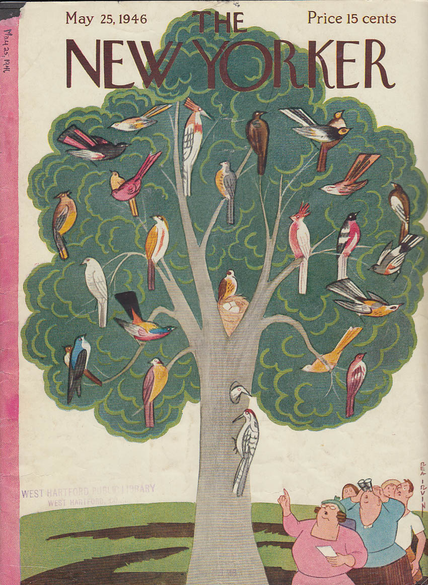 New Yorker cover Irvin all rare birds in tree 5/25 1946