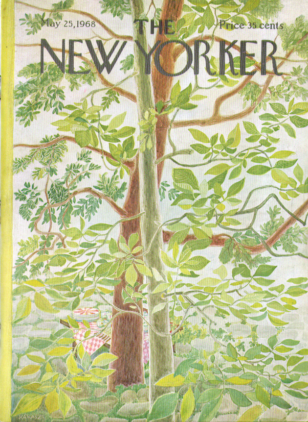New Yorker cover Karasz picnic lunch on table viewed through trees 5/25 1968