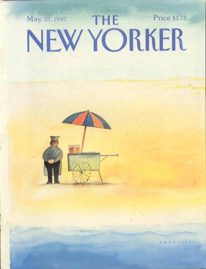 New Yorker cover Quezada dog wagon on beach 5/25 1987