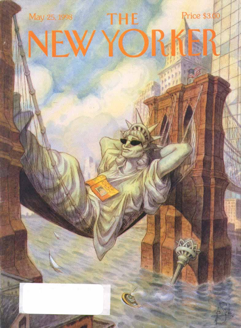 New Yorker cover de Seve Liberty Brooklyn hammock 5/25 1998