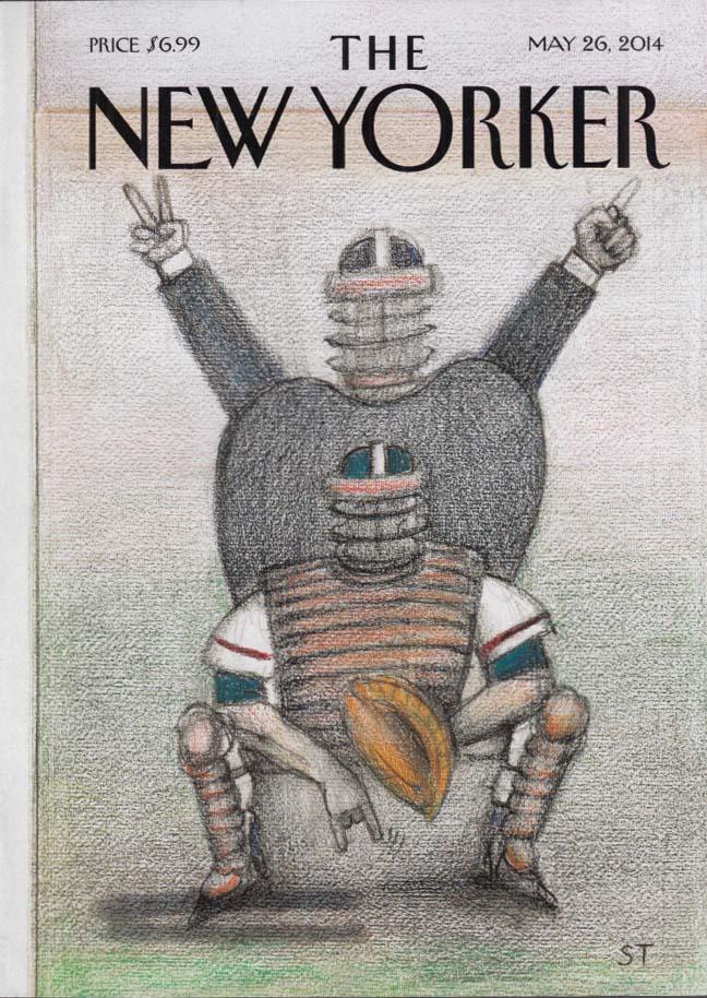 New Yorker cover 5/26 2014 Saul Steinberg umpire & baseball catcher