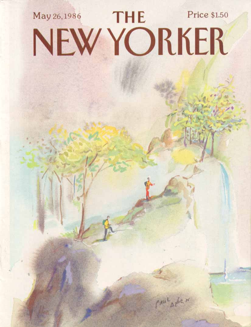 New Yorker cover Degen hike to waterfall 5/26 1986