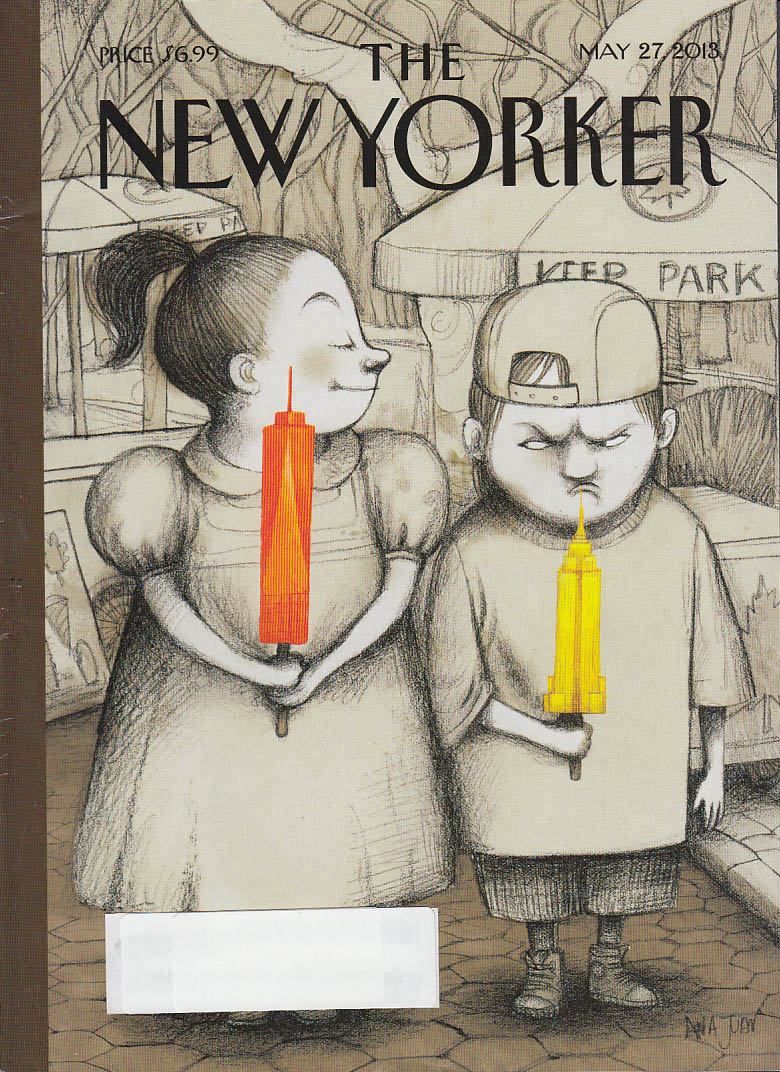New Yorker cover 5/27 2013 Juan: Trade Center vs Empire State popsicles in park