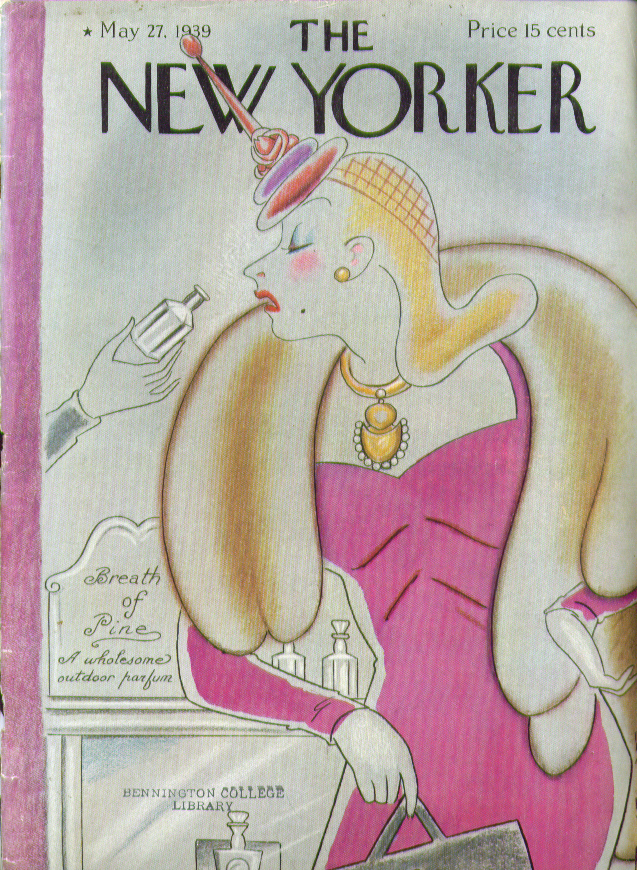 New Yorker cover Rea Irvin fur clad blonde sniffs outdoor fragrance 5/27 1939