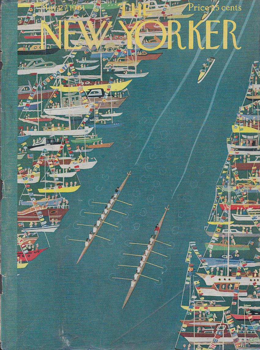 New Yorker cover CEM sailboat regatta views crew race on river 5/27 1961