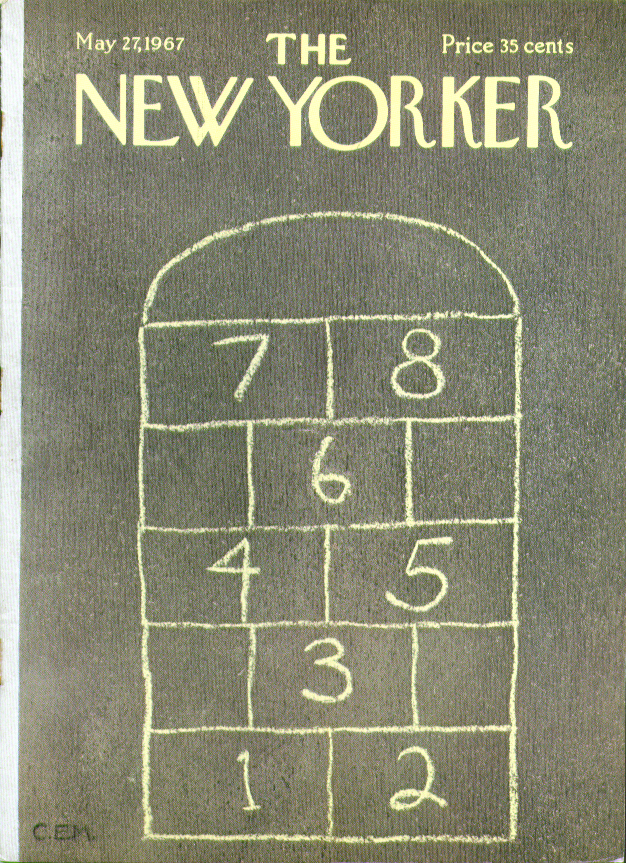 New Yorker cover CEM hopscotch grid drawn in chalk 5/27 1967