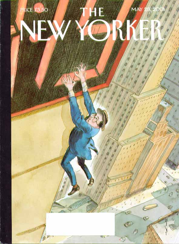 New Yorker cover Barry Blitt Harold Lloyd loses grip on digital clock 5/28 2001