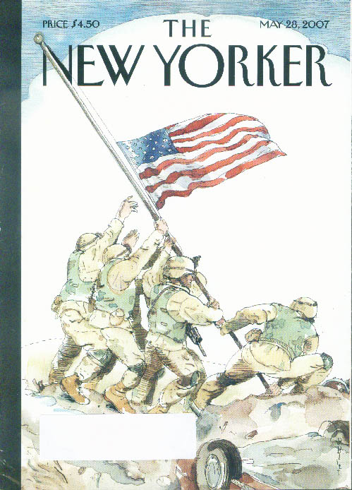 New Yorker cover Barry Blitt raising flag at half-staff in Iraq 5/28 2007