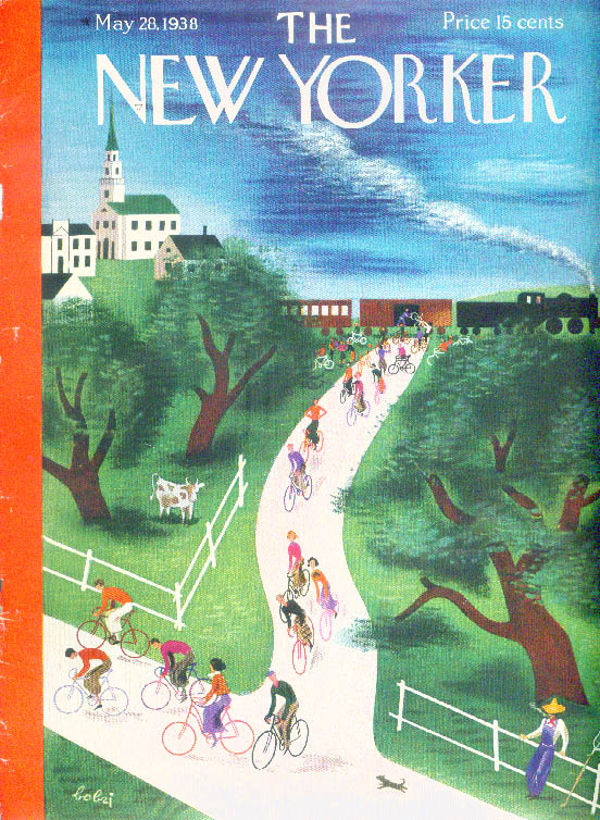 New Yorker cover Bobri bicyclists wheeling after train disembark 5/28 1938