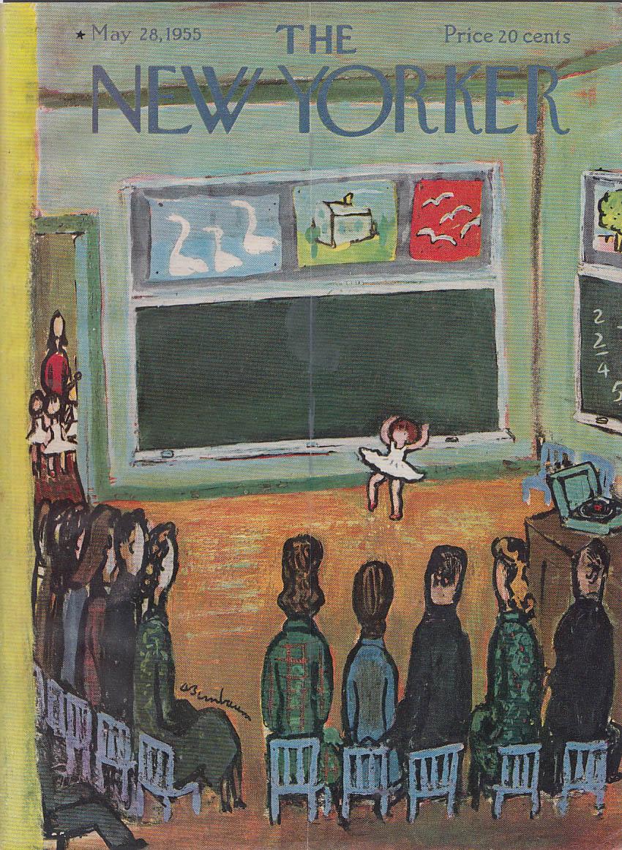 New Yorker cover Birnbaum girl ballerina dances for parents classroom 5/28 1955