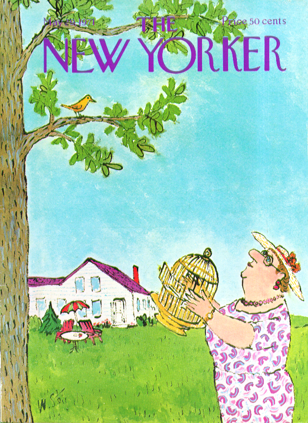 New Yorker cover Steig Big woman with cage tempts pet bird to return 5/29 1971